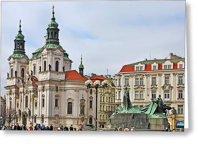 Prague - St Nicholas Church Old Town Square Greeting Card by Christine Till