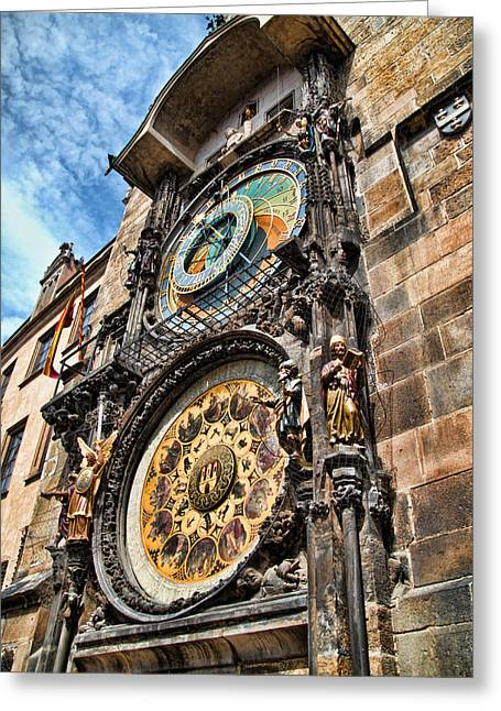 Prague Astronomical Clock Greeting Card by Jon Berghoff