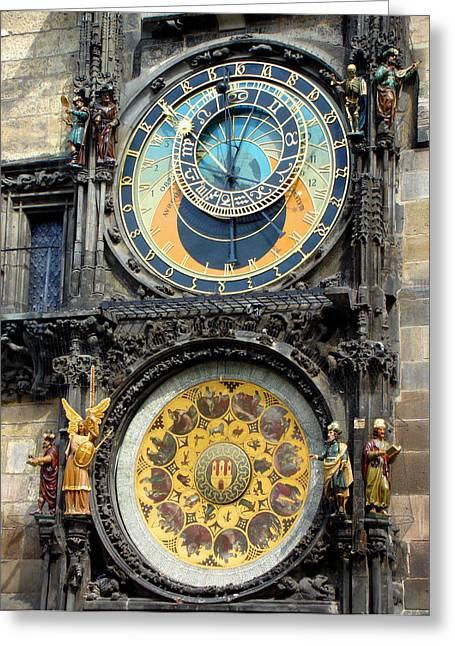 Prague Astronomical Clock Greeting Card by Roberto Alamino