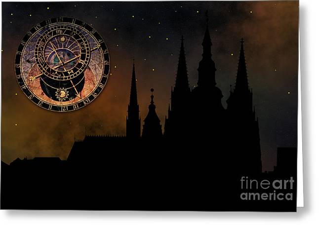 Prague Casle - Cathedral Of St Vitus - Monuments Of Mysterious C Greeting Card