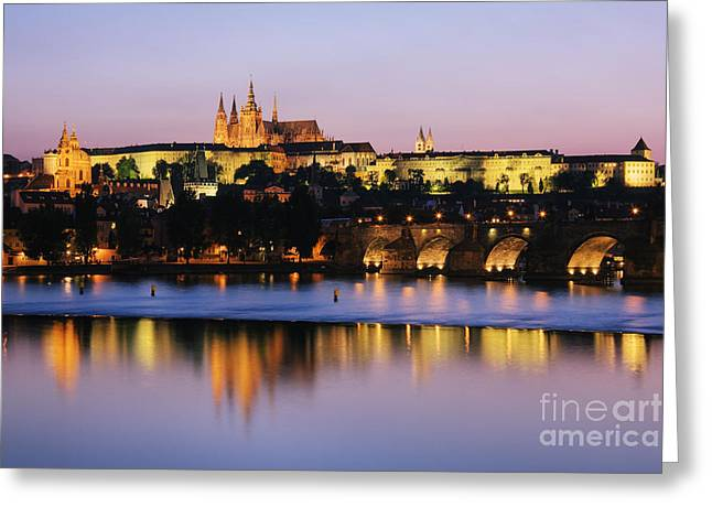 Prague Castle On The Riverbank Greeting Card by Jeremy Woodhouse