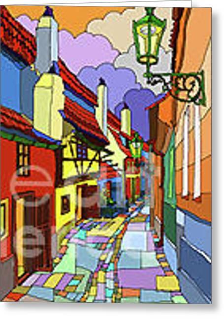 Prague Golden Line Greeting Card