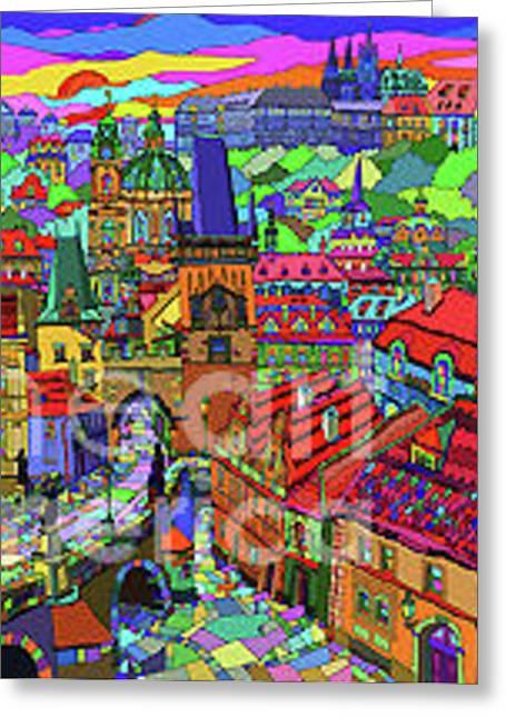 Prague Panorama With Charles Bridge Greeting Card