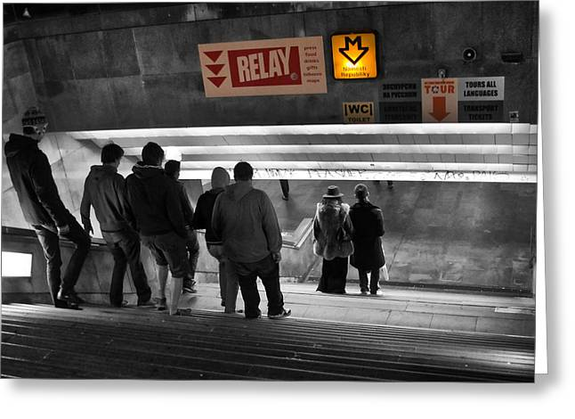 Prague Underground Station Stairs Greeting Card by Stelios Kleanthous