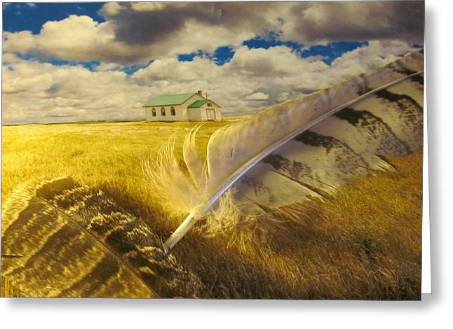 Prairie Feathers Greeting Card by Lori  Secouler-Beaudry