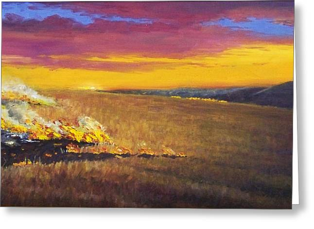 Greeting Card featuring the painting Prairie Fire by Rod Seel