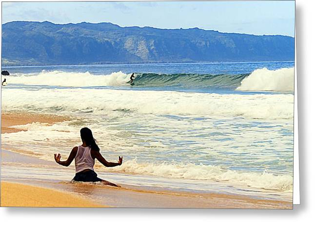 Pray For Surf Greeting Card by Ron Regalado