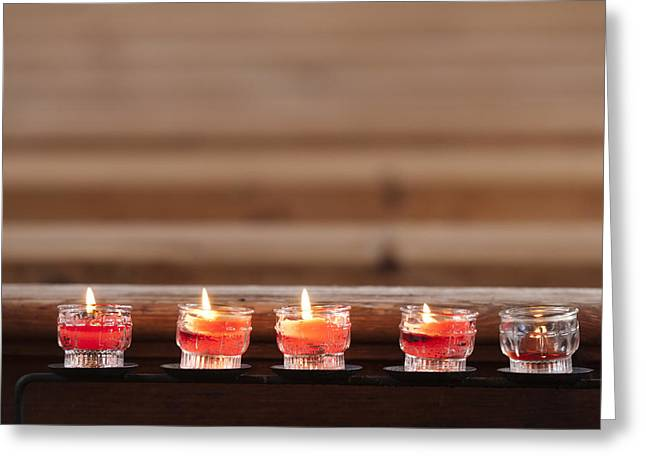Prayer Candles In Church Greeting Card