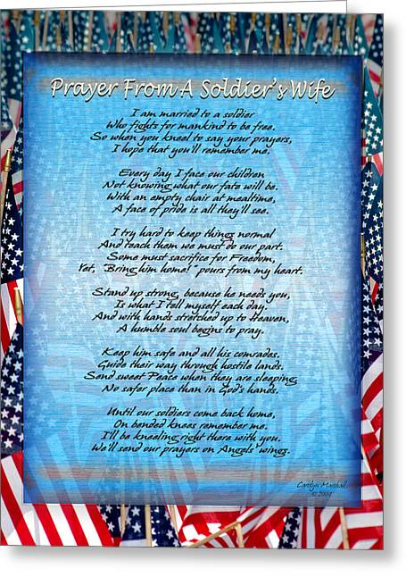 Prayer From A Soldiers Wife Greeting Card by Carolyn Marshall