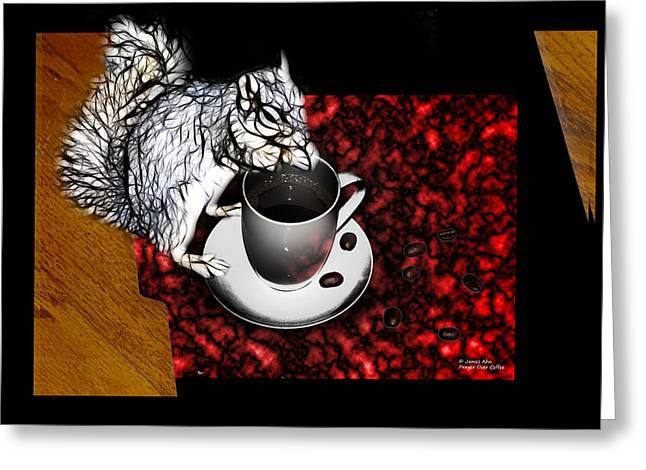 Prayer Over Coffee - Robbie The Squirrel Greeting Card by James Ahn