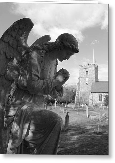Praying Sculptures Greeting Cards - Praying Angel Greeting Card by Adrian Wilkins