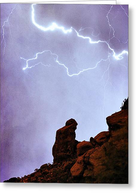 Praying Monk Camelback Mountain Paradise Valley Lightning  Storm Greeting Card by James BO  Insogna