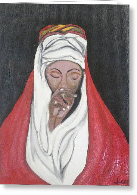 Praying Woman-oil Painting Greeting Card by Rejeena Niaz