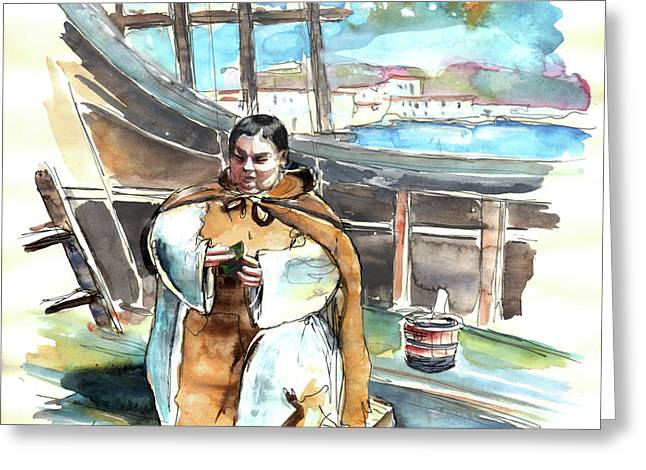 Preaching The Bible On The Conquistadores Boat In Vila Do Conde In Portugal Greeting Card