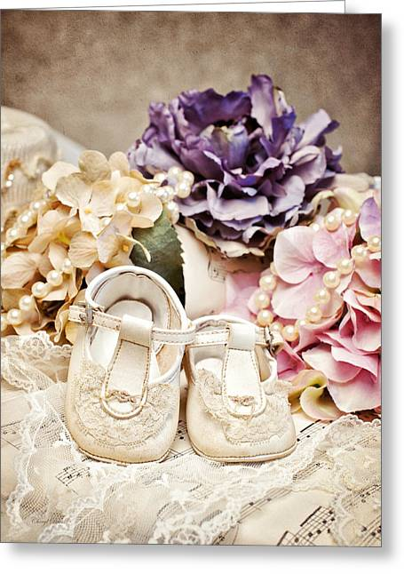 Precious Baby Shoes Greeting Card by Cheryl Davis