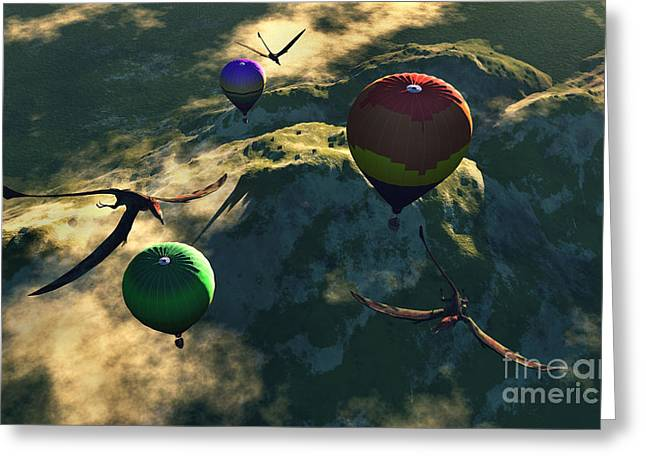 Prehistoric Balloon Rides Take Greeting Card