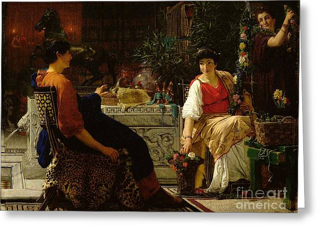 Preparations For The Festivities Greeting Card by Sir Lawrence Alma-Tadema