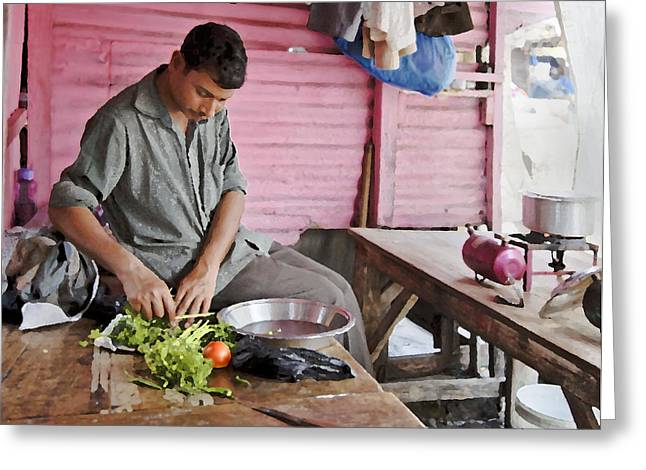 Prepping Lunch Greeting Card by Kantilal Patel