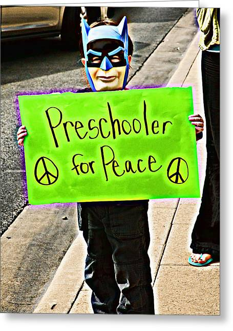 Preschooler For Peace Greeting Card by David Thompson