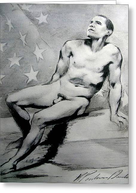 President Barack Obama Nude Study Greeting Card