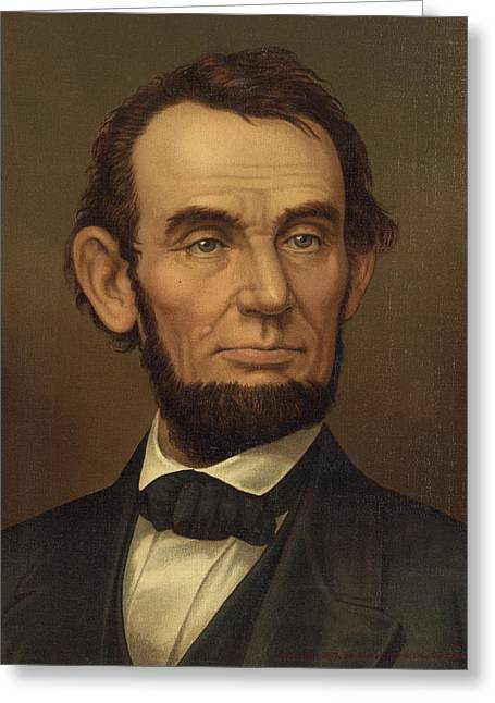 Greeting Card featuring the photograph President Of The United States Of America - Abraham Lincoln  by International  Images