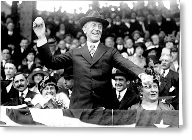 President Woodrow Wilson Throws Throws The First Pitch On Opening Day - C 1916 Greeting Card by International  Images