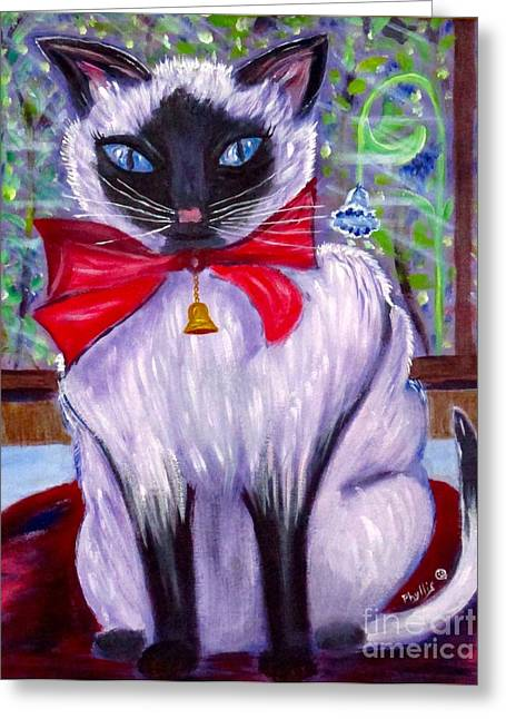 Pretty Fat Cat Greeting Card by Phyllis Kaltenbach