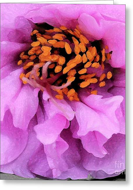 Pretty In Pink - Abstract Flower Greeting Card by Carol Groenen