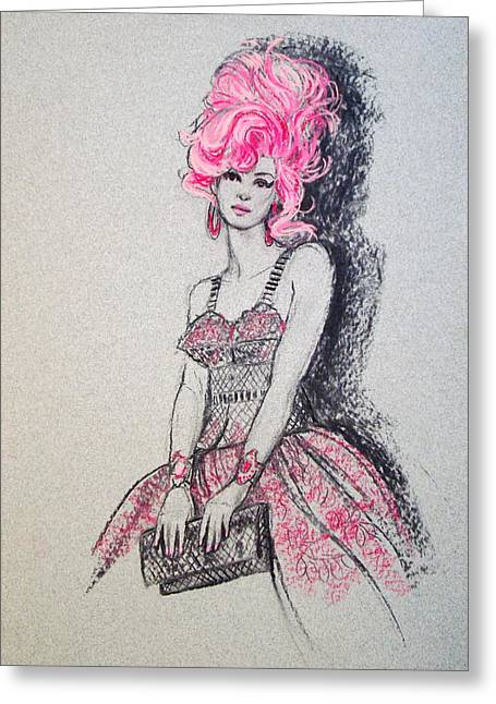 Pretty In Pink Hair Greeting Card by Sue Halstenberg