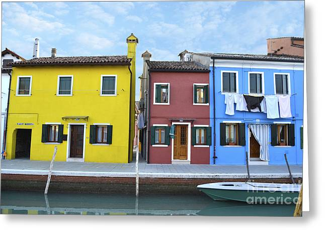 Primary Colors In Burano Italy Greeting Card by Rebecca Margraf