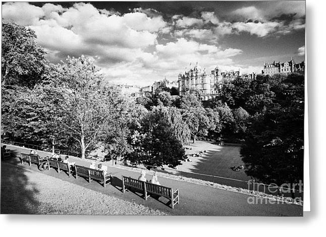 Princes Street Gardens In Edinburgh City Centre Scotland Uk United Kingdom Greeting Card by Joe Fox