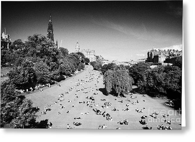 Princes Street Gardens On A Hot Summers Day In Edinburgh Scotland Uk United Kingdom Greeting Card by Joe Fox