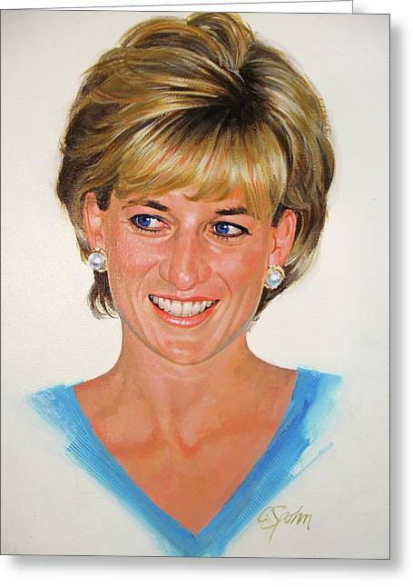 Greeting Card featuring the painting Princess Diana by Cliff Spohn