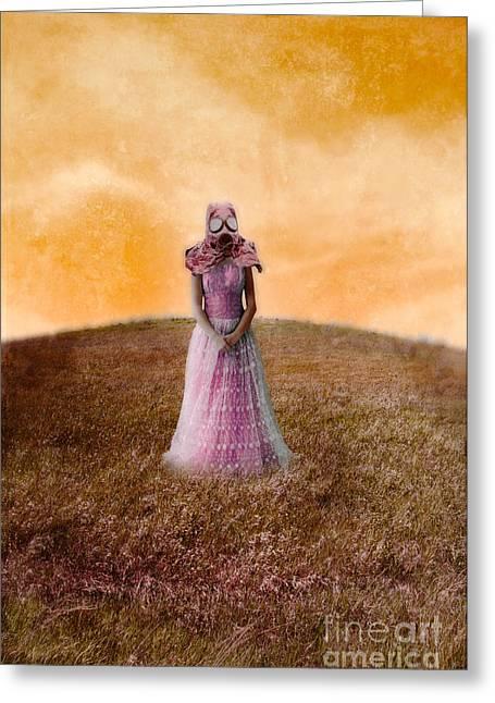 Princess In Gas Mask Greeting Card by Jill Battaglia