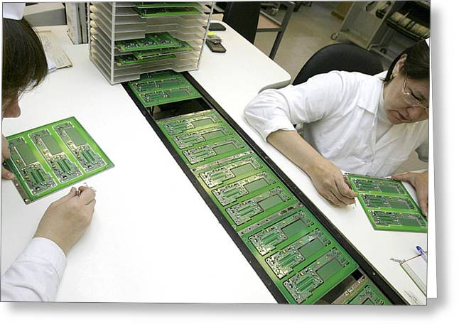Printed Circuit Board Assembly Work Greeting Card by Ria Novosti
