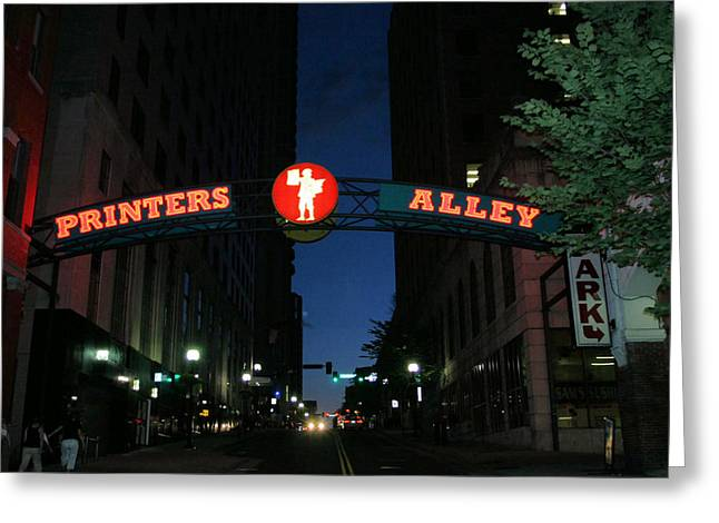 Printers Alley In Nashville Greeting Card