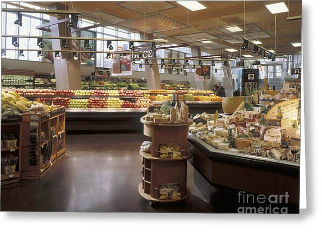 Produce Section Of A Supermarket Greeting Card by Robert Pisano