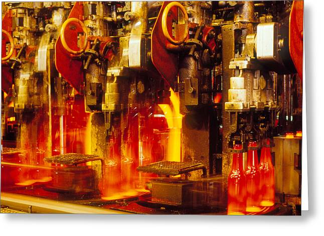 Production Line In Manufacture Of Glass Bottles Greeting Card by Victor De Schwanberg
