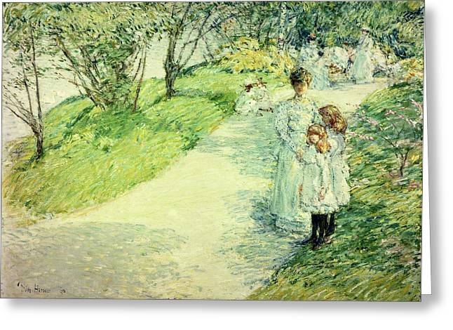 Promenaders In The Garden Greeting Card by Childe Hassam