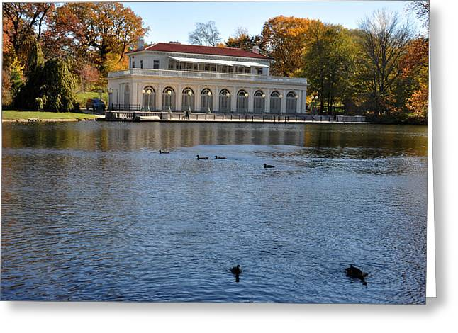Prospect Park Boathouse In Fall Greeting Card by Diane Lent