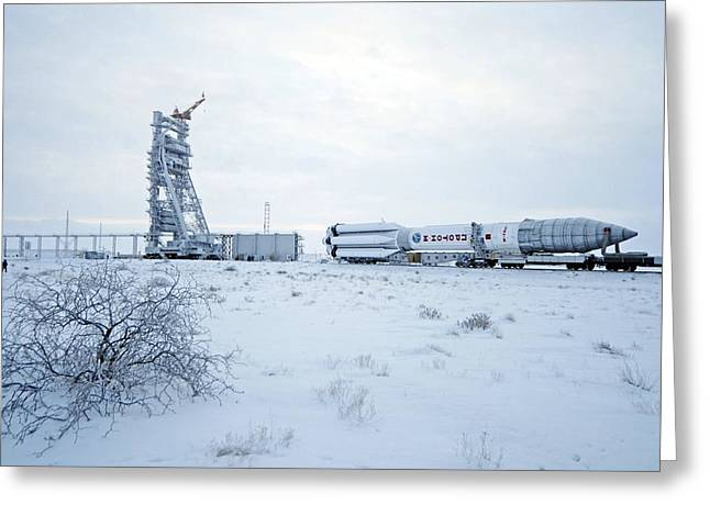 Proton M Rocket Near Its Launch Pad Greeting Card