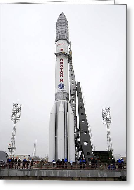 Proton M Rocket On Its Launch Pad Greeting Card