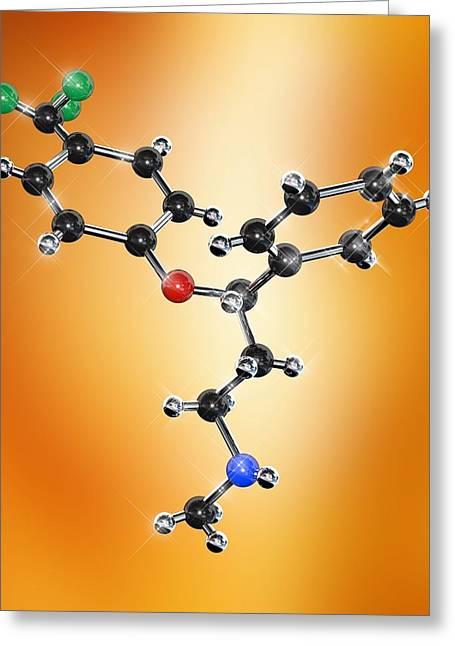 Prozac Antidepressant Molecule Greeting Card by Miriam Maslo