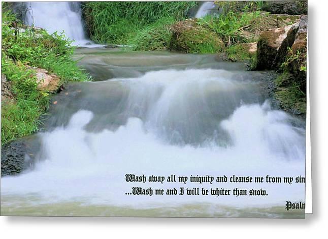 Psalm 51 2 Greeting Card by Kristin Elmquist