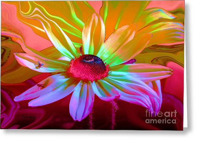 Psychedelic Flower Greeting Card by Doris Wood