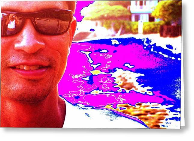 Greeting Card featuring the digital art Psychedelic Joe by Erika Swartzkopf