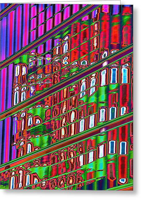 Psychedelic Reflection Of Barcelona 12 Greeting Card by Richard Henne