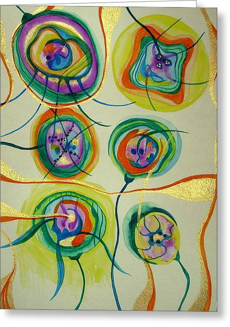 Greeting Card featuring the painting Psychedelic Xmas Ornaments by Erika Swartzkopf