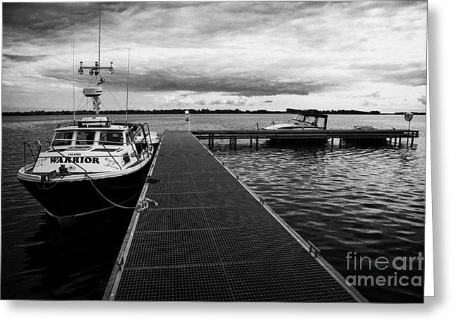 Public Jetty And Island Warrior Ferry On Rams Island In Lough Neagh Northern Ireland  Greeting Card by Joe Fox