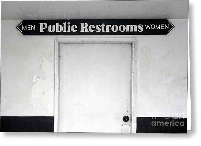 Public Restrooms Sign Greeting Card